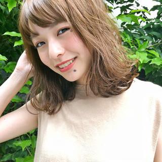 抜け感 前髪あり ゆるふわ ミディアム ヘアスタイルや髪型の写真・画像 ヘアスタイルや髪型の写真・画像