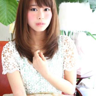 ストレート モテ髪 フェミニン ナチュラル ヘアスタイルや髪型の写真・画像