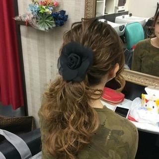 ヘアアレンジ ポニーテール 結婚式 ナチュラル ヘアスタイルや髪型の写真・画像