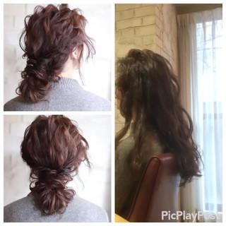 結婚式 セミロング ゆるふわ ヘアアレンジ ヘアスタイルや髪型の写真・画像