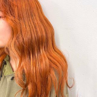 フェミニン 春 ロング アプリコットオレンジ ヘアスタイルや髪型の写真・画像