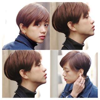 ハンサムショート ナチュラル インナーカラー ベリーショート ヘアスタイルや髪型の写真・画像