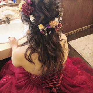 結婚式 ロング ヘアアレンジ 大人女子 ヘアスタイルや髪型の写真・画像