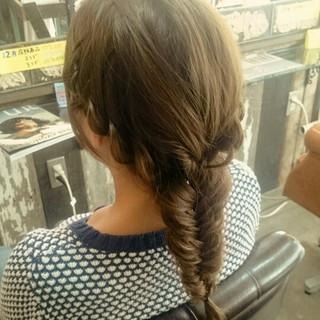 ロング 編み込み フィッシュボーン ヘアアレンジ ヘアスタイルや髪型の写真・画像 ヘアスタイルや髪型の写真・画像