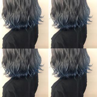 裾カラー サロンモデル アディクシーカラー ハイトーンカラー ヘアスタイルや髪型の写真・画像