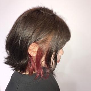 フェミニン ボブ ピンク インナーカラー ヘアスタイルや髪型の写真・画像