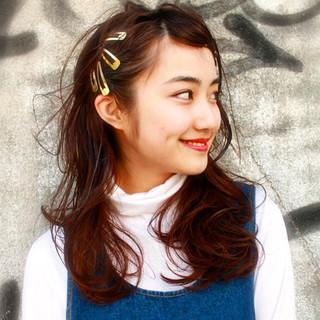セミロング 簡単ヘアアレンジ 黒髪 ガーリー ヘアスタイルや髪型の写真・画像