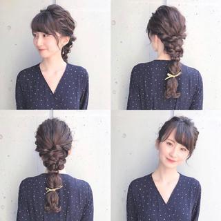 編みおろしヘア ヘアアレンジ 結婚式 フェミニン ヘアスタイルや髪型の写真・画像