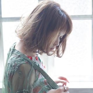 アンニュイ ボブ バレンタイン 外ハネ ヘアスタイルや髪型の写真・画像