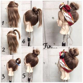 簡単ヘアアレンジ 大人女子 ヘアアクセ セミロング ヘアスタイルや髪型の写真・画像