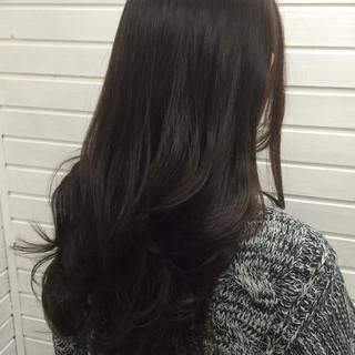 ロング フェミニン アッシュ 黒髪 ヘアスタイルや髪型の写真・画像