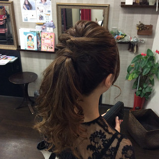 結婚式 ナチュラル 簡単ヘアアレンジ ロング ヘアスタイルや髪型の写真・画像