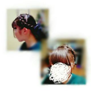 編み込み フェミニン ショート ガーリー ヘアスタイルや髪型の写真・画像