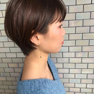 小顔ショート ヘアアレンジ ナチュラル デート ヘアスタイルや髪型の写真・画像
