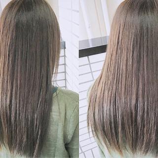 ロング 縮毛矯正 ナチュラル パーマ ヘアスタイルや髪型の写真・画像