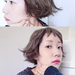 ショートボブ 外国人風 ボブ アッシュ ヘアスタイルや髪型の写真・画像