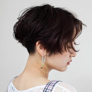 モード パーマ 黒髪 ハンサムショート ヘアスタイルや髪型の写真・画像