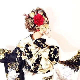 セミロング 結婚式 簡単ヘアアレンジ 外国人風カラー ヘアスタイルや髪型の写真・画像