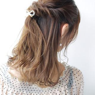 夏 セミロング 結婚式 簡単ヘアアレンジ ヘアスタイルや髪型の写真・画像