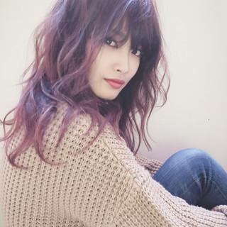 ウルフカット ナチュラル オレンジブラウン オレンジベージュ ヘアスタイルや髪型の写真・画像