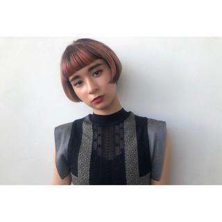 ハイライト ショートボブ ナチュラル 3Dハイライト ヘアスタイルや髪型の写真・画像