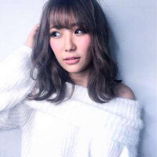 渋谷系 ガーリー ゆるふわ ミディアム ヘアスタイルや髪型の写真・画像