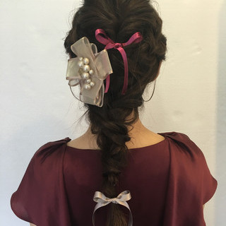 大人かわいい ロング ヘアアレンジ 編み込み ヘアスタイルや髪型の写真・画像 ヘアスタイルや髪型の写真・画像