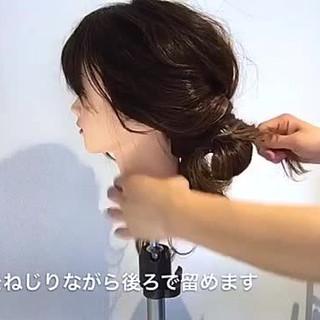 デート フェミニン ねじり ヘアアレンジ ヘアスタイルや髪型の写真・画像