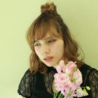 ヘアアレンジ ボブ 波ウェーブ ハーフアップ ヘアスタイルや髪型の写真・画像