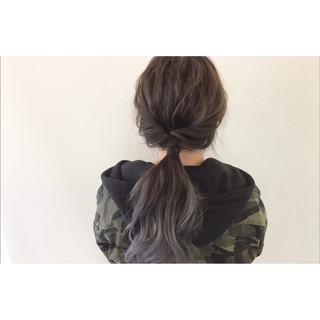 ロング グラデーションカラー ハイトーン 簡単ヘアアレンジ ヘアスタイルや髪型の写真・画像