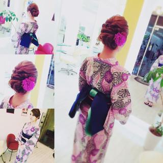夏 和装 ロング ヘアアレンジ ヘアスタイルや髪型の写真・画像