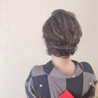 エレガント ヘアアレンジ ミディアム 夏 ヘアスタイルや髪型の写真・画像