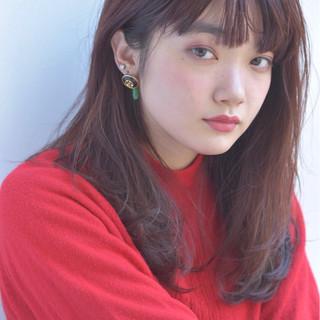 暗髪 冬 セミロング 色気 ヘアスタイルや髪型の写真・画像