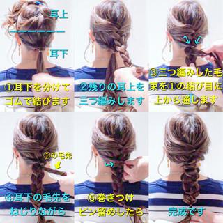 三つ編み ヘアアレンジ エレガント 編みおろしヘア ヘアスタイルや髪型の写真・画像