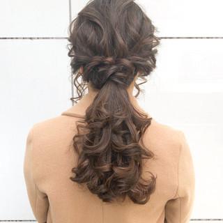 ポニーテール ヘアアレンジ 結婚式 ロング ヘアスタイルや髪型の写真・画像