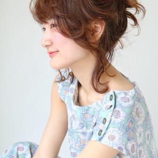 簡単ヘアアレンジ 前髪あり 愛され お団子 ヘアスタイルや髪型の写真・画像
