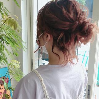 ゆるふわセット ナチュラル ショート ヘアアレンジ ヘアスタイルや髪型の写真・画像