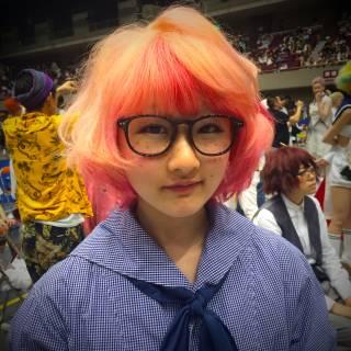 グラデーションカラー ゆるふわ レッド ピンク ヘアスタイルや髪型の写真・画像