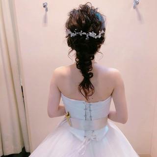 セミロング ヘアアレンジ 結婚式 上品 ヘアスタイルや髪型の写真・画像