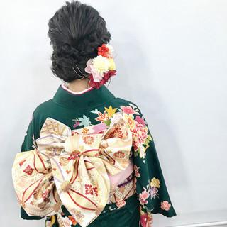 エレガント ミディアム 和装ヘア ヘアアレンジ ヘアスタイルや髪型の写真・画像