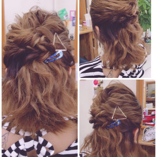 ミディアム デート ウェーブ 女子会 ヘアスタイルや髪型の写真・画像
