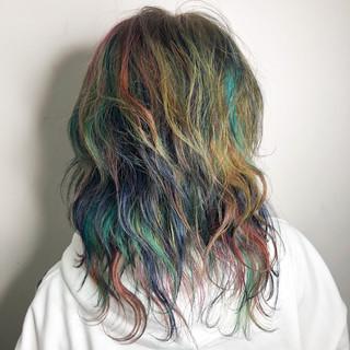 ユニコーンカラー ヘアアレンジ モード ミディアム ヘアスタイルや髪型の写真・画像 ヘアスタイルや髪型の写真・画像