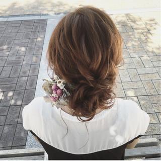 ゆるふわ ガーリー ヘアアレンジ セミロング ヘアスタイルや髪型の写真・画像