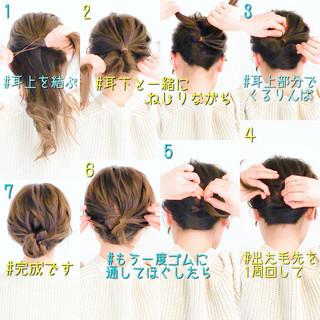 エレガント 簡単ヘアアレンジ ヘアアレンジ セルフアレンジ ヘアスタイルや髪型の写真・画像
