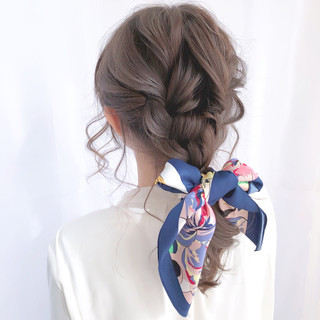 結婚式 フェミニン デート 結婚式ヘアアレンジ ヘアスタイルや髪型の写真・画像