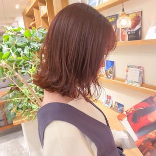 ミディアム ブリーチなし 切りっぱなしボブ ピンクラベンダー ヘアスタイルや髪型の写真・画像