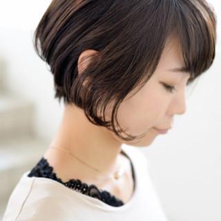 ボブ 耳かけ ナチュラル ショート ヘアスタイルや髪型の写真・画像 ヘアスタイルや髪型の写真・画像