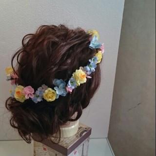 ブライダル ロング ヘアアレンジ 結婚式 ヘアスタイルや髪型の写真・画像