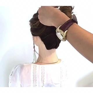 簡単ヘアアレンジ 涼しげ フェミニン ボブ ヘアスタイルや髪型の写真・画像