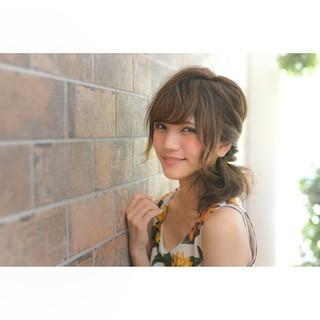 ヘアアレンジ フェミニン ピュア ミディアム ヘアスタイルや髪型の写真・画像